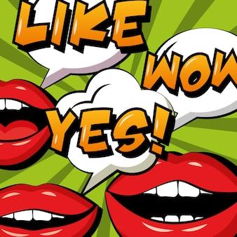 Pop art comic woman lips yes like and wow speech bubbles