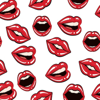 Pop art concept represented by female mouth background