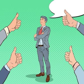 Поп-арт уверенно бизнесмен и руки, показывая пальцы вверх.