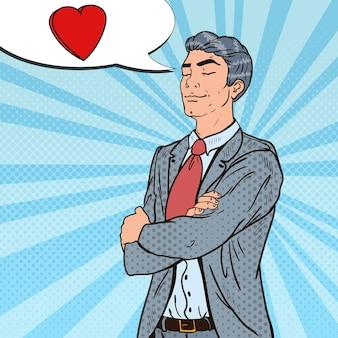 Pop art confident businessman in love.