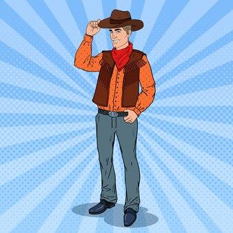 Pop art cowboy in hat smiling. wild west hero.