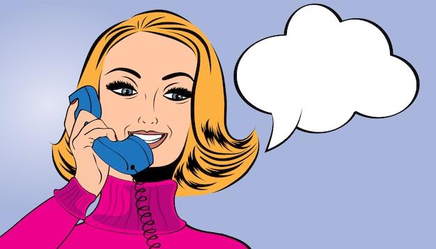 Pop art cute retro woman in comics style talking on the retro phone