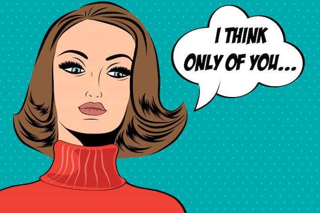 메시지와 함께 만화 스타일의 팝 아트 귀여운 복고풍 여자