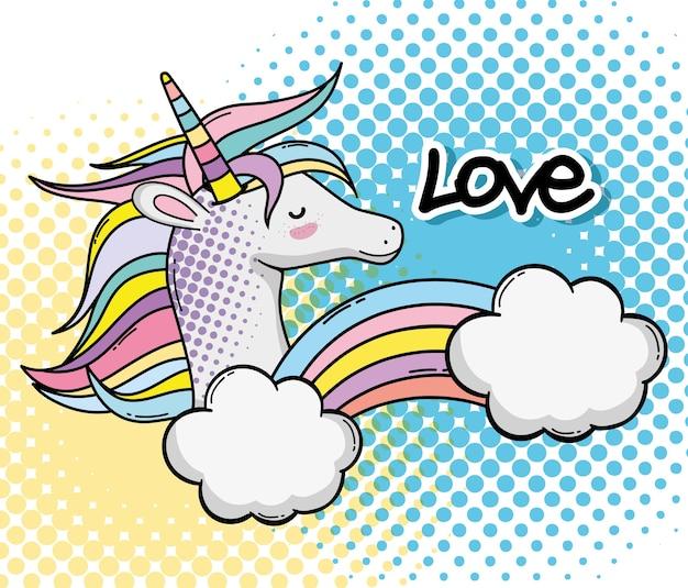 Pop art cute unicorn fantasy cartoon vector illustration graphic design