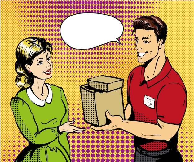 Pop art delivery   illustration. delivery man handing box to woman.