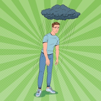 Pop art depressed young man under the rain