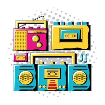 Pop art design with retro musical gadgets