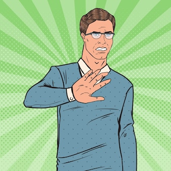 Поп-арт омерзил человек. парень показывая знак руки стоп.