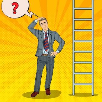 はしごを見上げてポップアート疑わしい実業家。