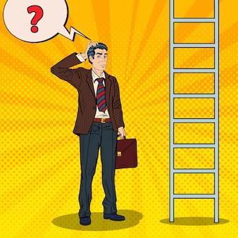 Pop art doubtful businessman looking up at ladder.