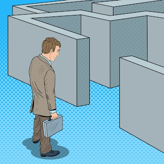 Pop art doubtful businessman with briefcase standing in front of labyrinth.