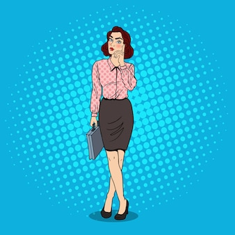 Pop art doubtfull business woman with briefcase.