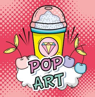 Pop art drink cartoons concept