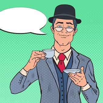 Pop art english man drinking tea on the morning