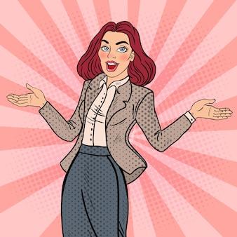 ポップアートは、幸せなビジネスの女性を興奮させた。