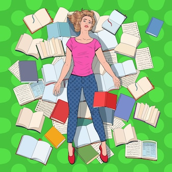 Pop art exhausted student lying on the floor among books. overworked young woman preparing for exams. education concept.