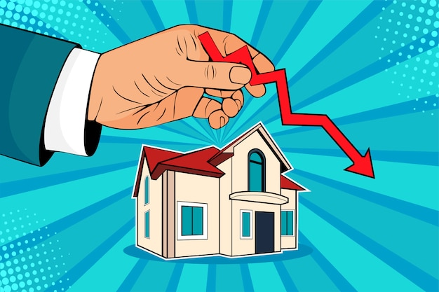 Pop art falling down house prices