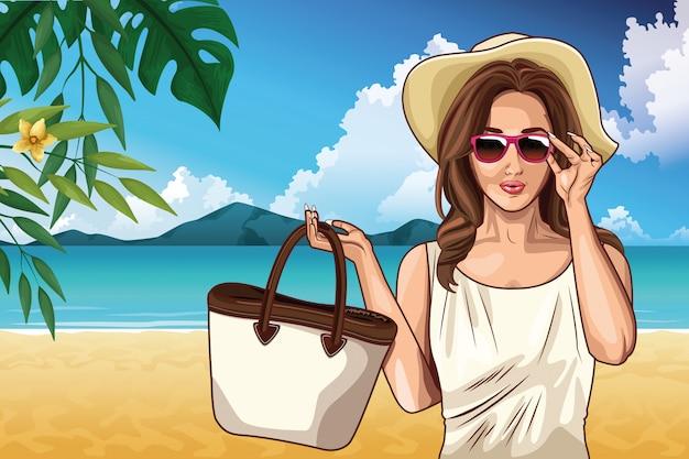 Поп-арт мода и красивая женщина мультфильм