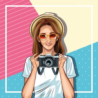 Pop art fashion and beautiful woman cartoon Free Vector