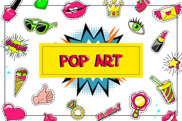Pop art fashion stickers composition with eyeglasses lipstick ice cream thumb up symbol cocktail speech bubble ring winged letter heart