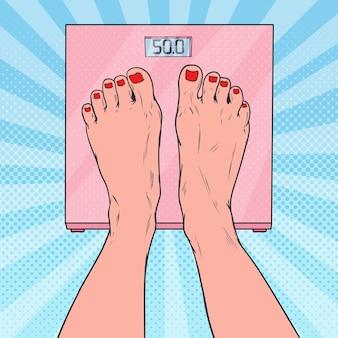 Pop art female feet on weighing scales