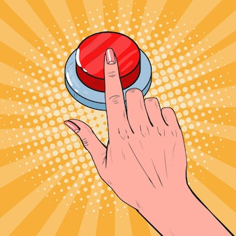 Pop art female hand pushing a red button