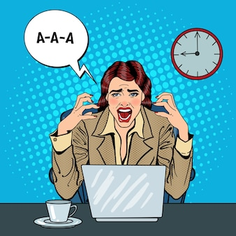 Pop art frustrated stressed business woman screaming at multi tasking office work.  illustration