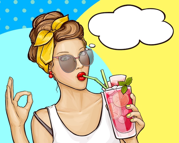 Поп-арт девушка пьет коктейль и показывает знак ок