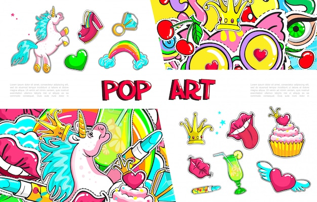 Pop art girl fashion stickers collection with unicorn shoe winged heart ring with diamond rainbow crown lips tongue cocktail cake