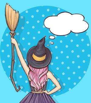 Поп-арт девушка в костюме ведьмы хэллоуин с метлой