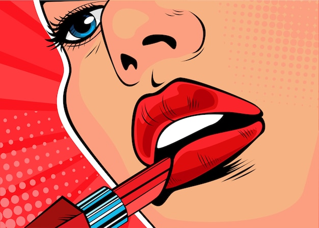 Pop art girl paints her lips with red lipstick