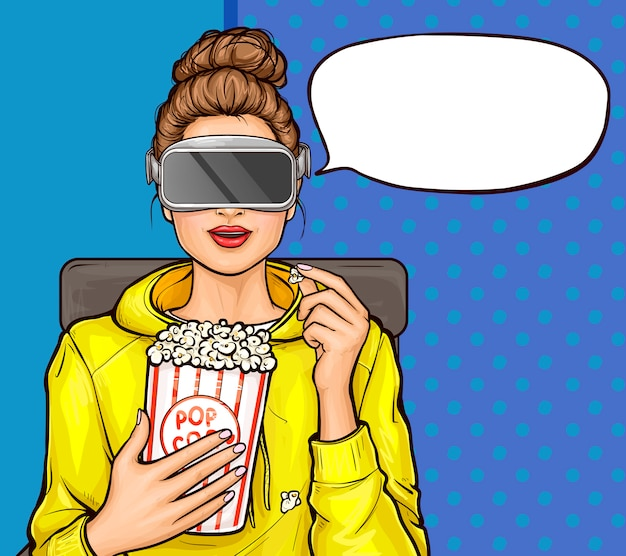 Pop art girl in virtual reality glasses watching movie