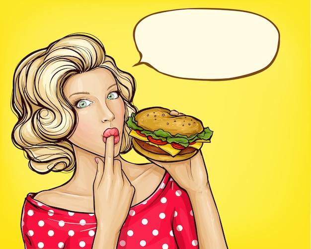 Поп-арт девушка с гамбургером, облизывая палец
