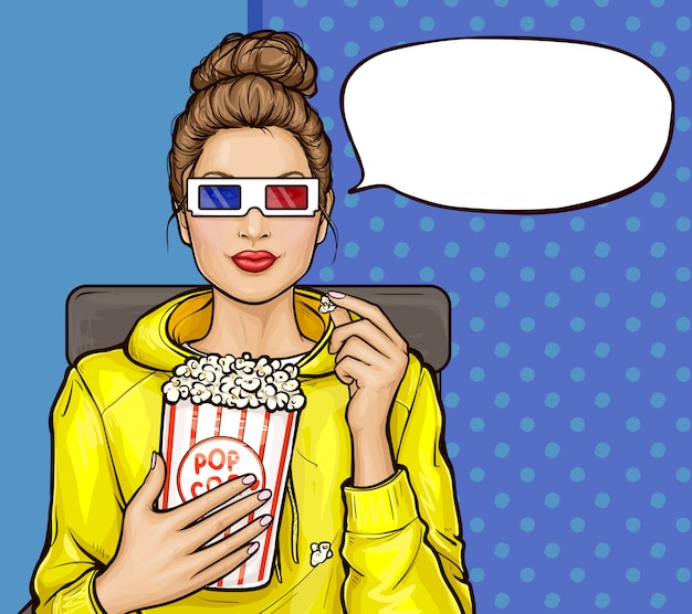 Pop art girl with popcorn watching 3d movie