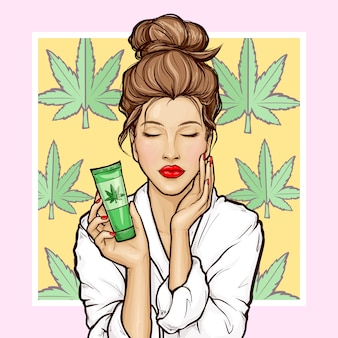Pop art girl with tube cosmetic of cannabis