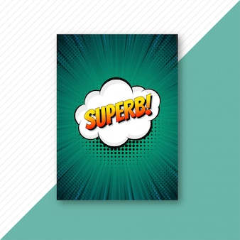 Поп-арт зеленый комикс брошюра шаблон вектор