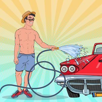 Поп-арт парень моет свой классический автомобиль