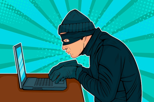 Pop art hacker thief hacking into a computer