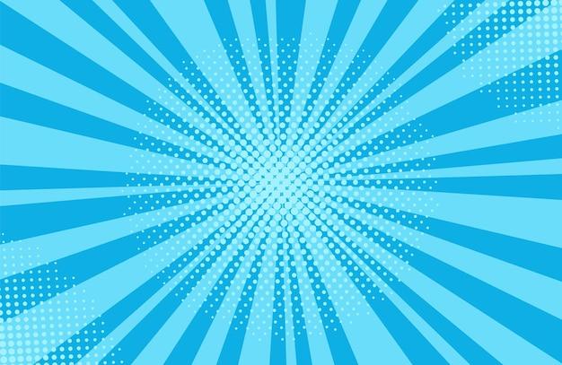 팝 아트 하프톤 배경입니다. 만화 스타버스트 패턴입니다. 점과 광선이 있는 파란색 만화 배너