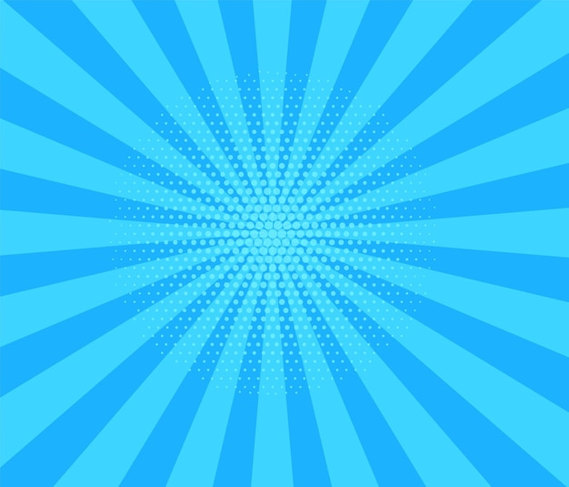 Pop art halftone background. comic starburst pattern. cartoon blue banner with dots and rays