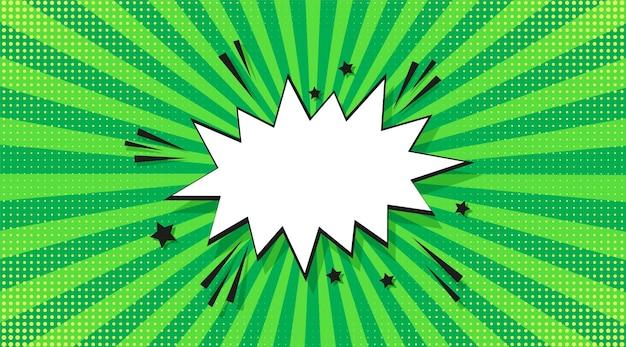 팝 아트 하프톤 배경입니다. 만화 스타버스트 패턴입니다. 만화 복고풍 햇살 효과입니다. 연설 거품, 점 및 광선 녹색 배너입니다. 빈티지 이중톤 텍스처입니다. 슈퍼히어로 와우 프린트