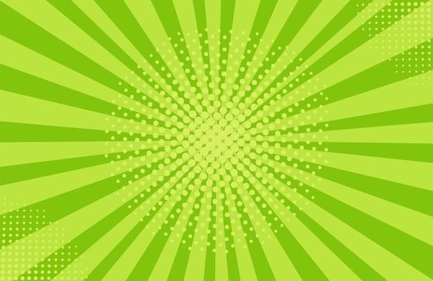 팝 아트 하프톤 배경입니다. 만화 스타버스트 패턴입니다. 만화 복고풍 햇살 효과입니다. 녹색 배너