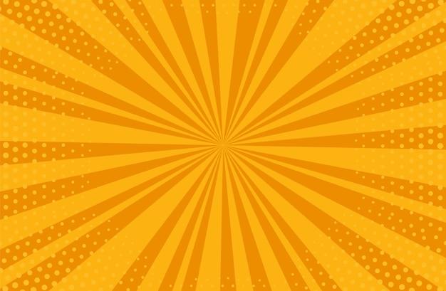 팝 아트 하프톤 배경입니다. 만화 스타버스트 패턴입니다. 점과 광선이 있는 주황색 배너입니다.