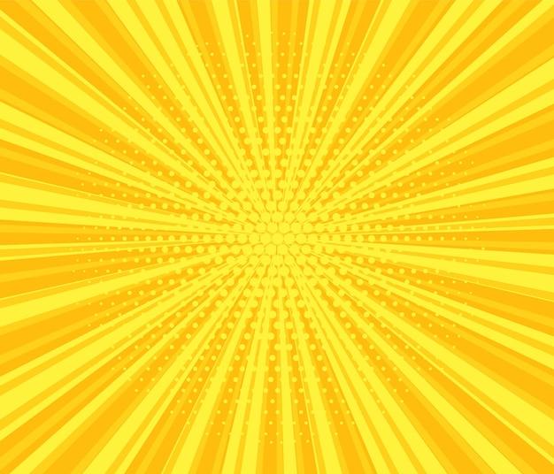 팝 아트 하프톤 배경입니다. 만화 스타버스트 패턴입니다. 점과 광선이 있는 노란색 배너입니다. 빈티지 이중톤 텍스처입니다. 그라데이션 와우 디자인. 만화 슈퍼 히어로 배너입니다. 벡터 일러스트 레이 션.