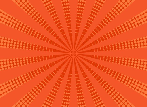 팝 아트 하프톤 배경입니다. 오렌지 만화 패턴입니다. 벡터 일러스트 레이 션.