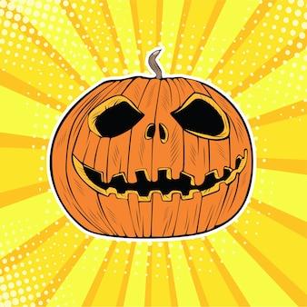Pop art halloween jack pumpkin head