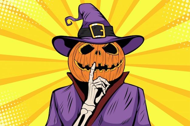 Pop art halloween pumpkin character make silence gesture