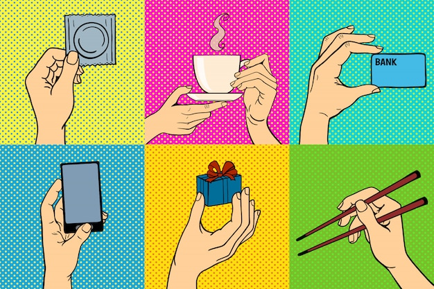 Pop art hands vector illustration set