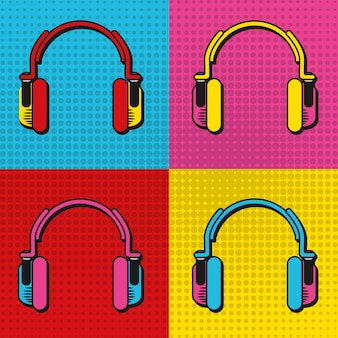 Pop art headphones frames