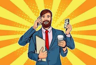 Pop art hipster businessman